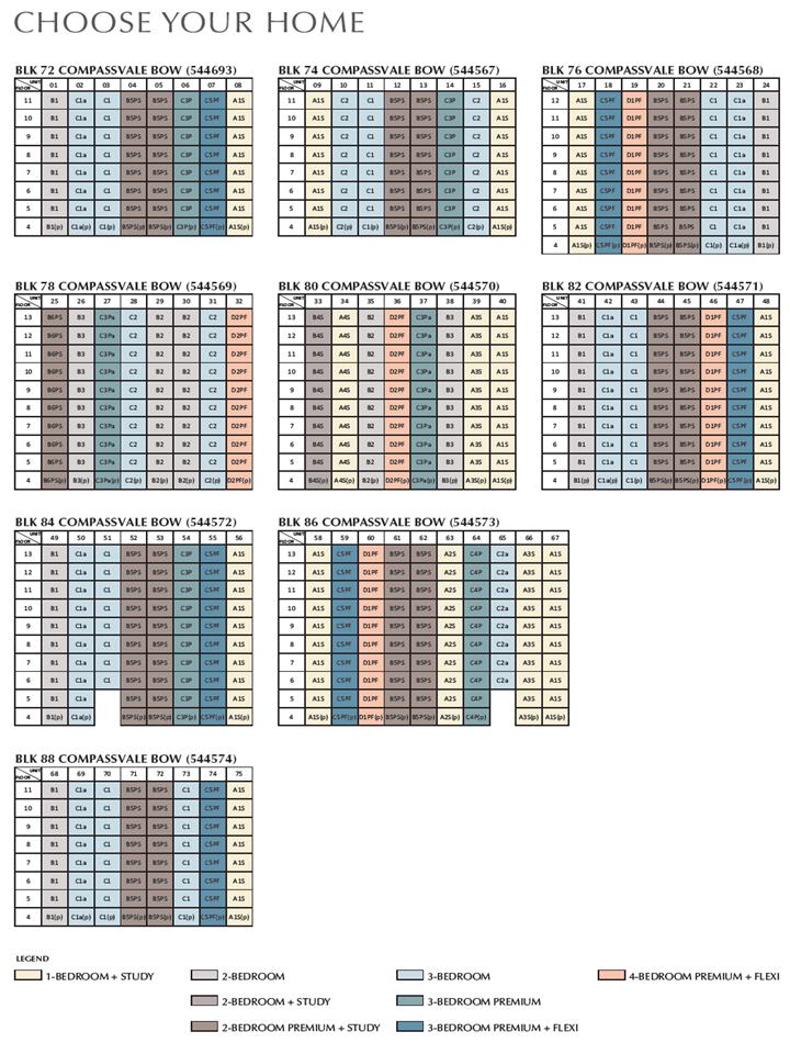 sengkang grand residences unit distribution or schematic diagram
